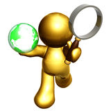Searching the world solution. Icon figure holding magnifier glasses for  searching the solution Stock Images