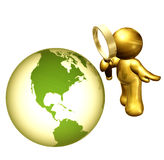 Searching the world solution. Icon figure holding magnifier glasses for  searching the solution Royalty Free Stock Photo
