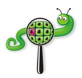 Searching Worm. Illustrated icon for web-search showing a magnifying glass scanning the segments of a green worm Royalty Free Stock Images