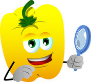 Searching yellow bell pepper with magnifying glass Royalty Free Stock Images
