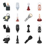 Searchlight, kerosene lamp, candle, flashlight.Light source set collection icons in black,cartoon style vector symbol. Stock illustration Stock Image