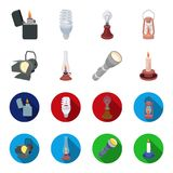 Searchlight, kerosene lamp, candle, flashlight.Light source set collection icons in cartoon,flat style vector symbol. Stock illustration Royalty Free Stock Photography