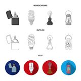 Searchlight, kerosene lamp, candle, flashlight.Light source set collection icons in flat,outline,monochrome style vector. Symbol stock illustration Stock Images