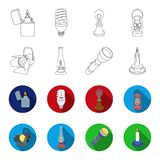 Searchlight, kerosene lamp, candle, flashlight.Light source set collection icons in outline,flat style vector symbol. Stock illustration Royalty Free Stock Photo