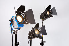 Searchlights. Professional searchlights on shooting platform Stock Photography