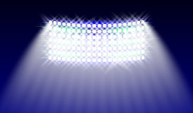 Searchlights in the stadium field. Illuminations. Vector illustration. Royalty Free Stock Image