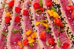 Seared Ahi Tuna Close Up. Slices of fresh tuna sushi Royalty Free Stock Photos