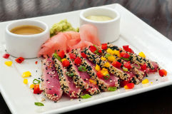 Seared Ahi Tuna with Ginger, Wasabi & Sauces -full Stock Photos