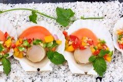 Seared kammusslor med tropisk salsa Arkivfoton