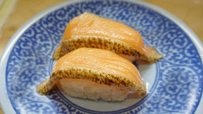 Seared salmon belly sushi nigiri Stock Image