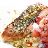 Seared Salmon with Garic Rice Royalty Free Stock Photos