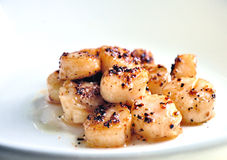 Seared scallop with black pepper Royalty Free Stock Photo