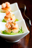 Seared Scallops with langostino lobster Stock Photo