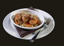 Seared Scallops and Vegetables Royalty Free Stock Images