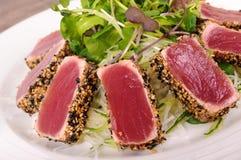 Seared tuna salad closeup Royalty Free Stock Photo