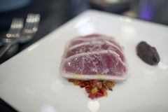 Seared yellowfin tuna steaks Stock Photography
