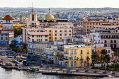 Searoad and buildings in old city center, Havana. Cuba Stock Photo