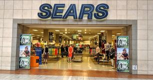 Sears Mall Entrance. Joliet, Illinois, USA - April 8, 2018: Sears location in the Louis Joliet Mall in the Chicago suburbs Royalty Free Stock Photos