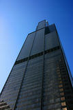 Sears tower from below on blue Stock Photo