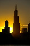 Sears Tower, Chicago. Silhouette of Sears Tower and a part of Chicago. Chicago gives perfect sunset photos because it faces sun both ways in the morning and in stock photo