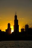 Sears Tower, Chicago. Silhouette of Sears Tower and a part of Chicago. Chicago gives perfect sunset photos because it faces sun both ways in the morning and in stock images