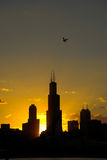 Sears Tower, Chicago. Silhouette of Sears Tower and a part of Chicago, Illinois royalty free stock photos