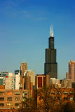 Sears tower from east on blue Stock Photos