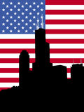 Sears tower with flag Stock Image