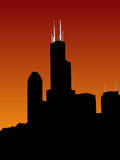 Sears tower at sunset Royalty Free Stock Photography