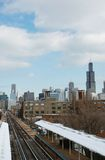 Sears Tower and the Train. Winter on the West-side of Chicago and Sears Tower Stock Photo