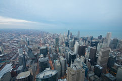 Sears Tower View Chicago. Sears Tower View on Chicago Downtown Winter. Dynamic Wide Angle Shot Stock Photography