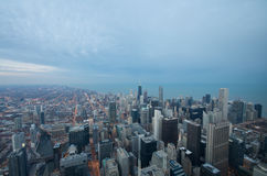 Sears Tower View Chicago. Sears Tower View on Chicago Downtown Winter. Dynamic Wide Angle Shot stock image