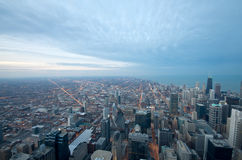 Sears Tower View Chicago. Sears Tower View on Chicago Downtown Winter. Dynamic Wide Angle Shot royalty free stock photo