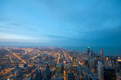 Sears Tower View Chicago. Sears Tower View on Chicago Downtown Winter. Dynamic Wide Angle Shot Stock Images