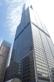 Sears Tower (Willis Tower) in downtown Chicago. Blue sky and sun is shinning. Stock Photo