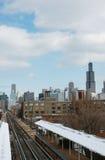 Sears Tower y el tren foto de archivo