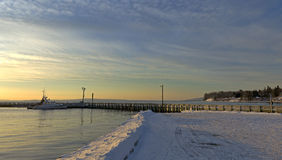 Searsport Maine town pier in wintertime Stock Photography