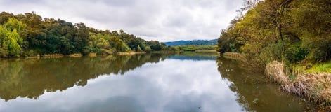 Searsville sjö som lokaliseras i Jasper Ridge Biological Preserve på en molnig dag, San Francisco Bay område, Kalifornien royaltyfria foton