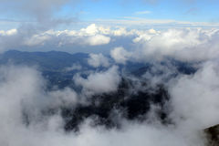 Seas of clouds. On the top of the mountain Royalty Free Stock Photos