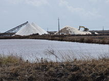 Seasalt stockpiles. A distant view of Industrial machines stockpiling thousands of tonnes of seasalt in the salinas near Tavira Portugal Stock Images
