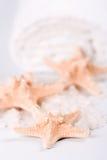 Seasalt, towel and starfish. Closeup Stock Images