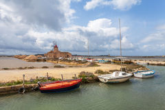 Seasalt of Trapani and boats Stock Images