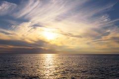 Seasapewith horizon and sunset Stock Photos