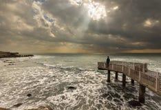 Seascape ακτίνων ήλιων Στοκ εικόνες με δικαίωμα ελεύθερης χρήσης