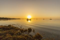 Seascape ανατολής του φυσικού πάρκου υγρότοπων της Ria Φορμόζα, Αλγκάρβε Στοκ εικόνες με δικαίωμα ελεύθερης χρήσης