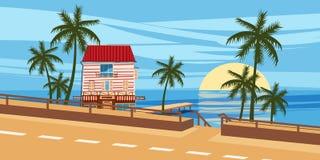 Seascape, δρόμος, σπίτι, φοίνικες, τροπικοί, διακοπές, ύφος κινούμενων σχεδίων, διανυσματική απεικόνιση Στοκ Εικόνες