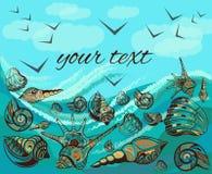 Seascape ευχετήριων καρτών πουλιά, κύματα, θαλασσινά κοχύλια απεικόνιση αποθεμάτων