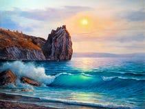 Seascape ζωγραφικής κύμα θαλασσοταραχών συντριβών στοκ φωτογραφίες