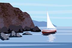 Seascape, θάλασσα, ωκεανός, βράχοι, πέτρες, sailfish, βάρκα, διάνυσμα, απεικόνιση, που απομονώνεται διανυσματική απεικόνιση