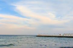 Seascape κατά τη διάρκεια του ηλιοβασιλέματος στο Odesa της Ουκρανίας Στοκ Φωτογραφία